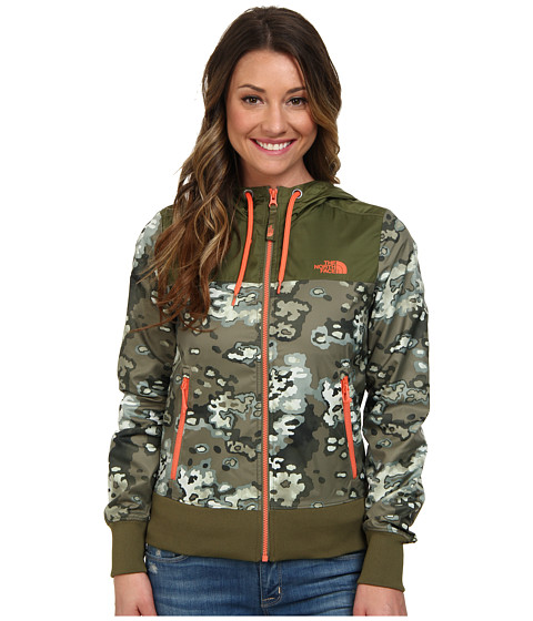 The North Face - Bluewind Full Zip Hoodie (Burnt Olive Green Oak Camo) Women