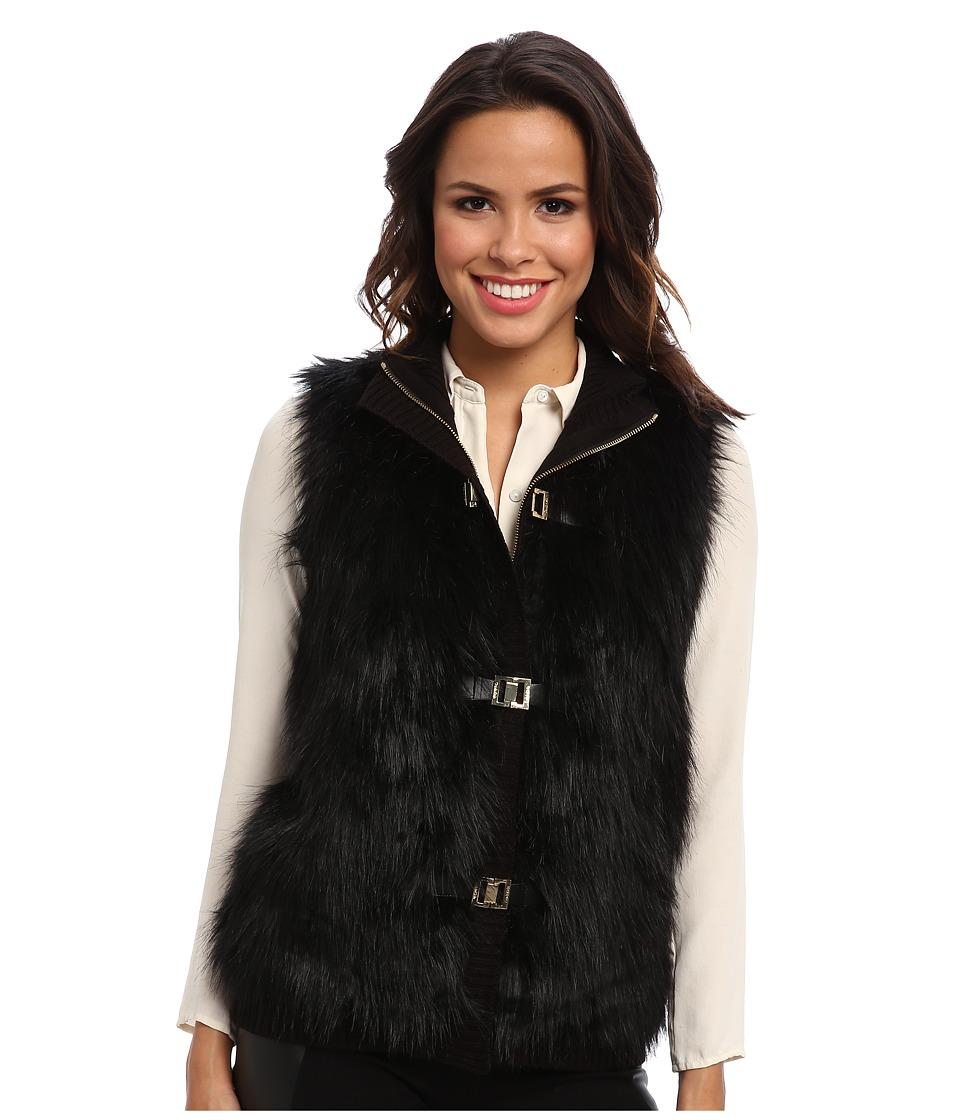 Calvin Klein - Faux Fur Sweater Vest (Black) Women's Vest
