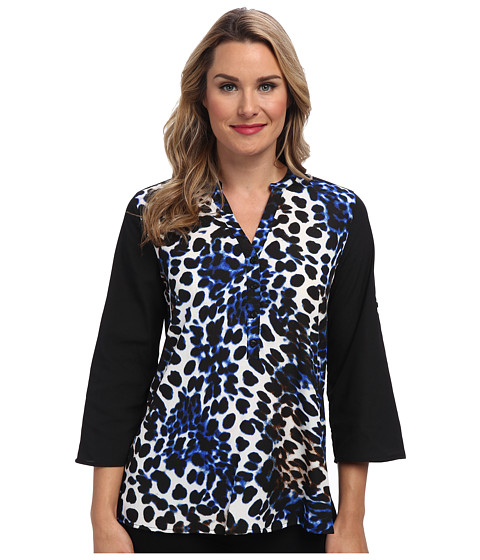 Calvin Klein - Print 1/2 Button Roll Sleeve (Celestial Multi) Women