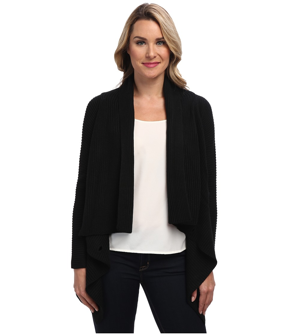 Calvin Klein - Ribbed Sweater Jacket (Black) Women's Sweater