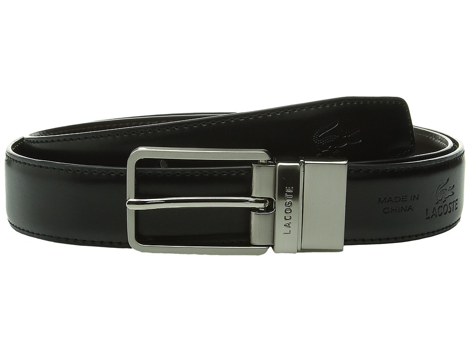 Lacoste - Premium Reversible Leather Nickel Embossed Croc Belt (Rock/Seaweed) Men's Belts