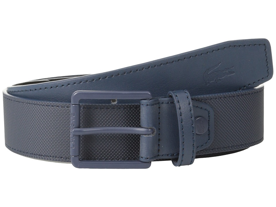 Lacoste - Pique Embossed Croc Belt (Navy) Men's Belts