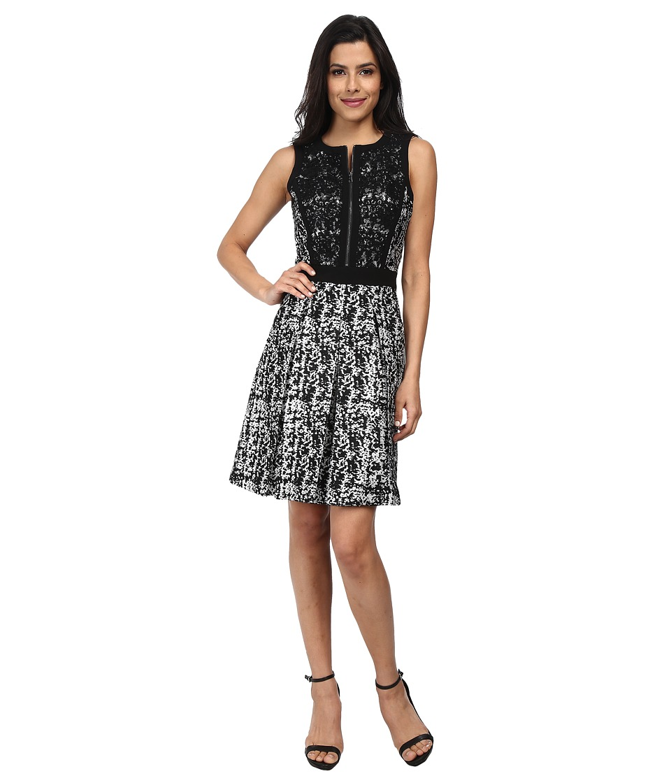 Adrianna Papell - Sleeveless Skater Dress (Black/Silver) Women's Dress
