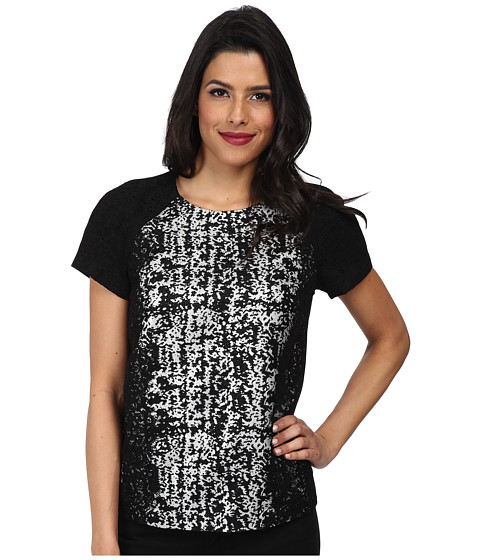 Adrianna Papell - S/S Tee Body Blouse (Black) Women's Blouse