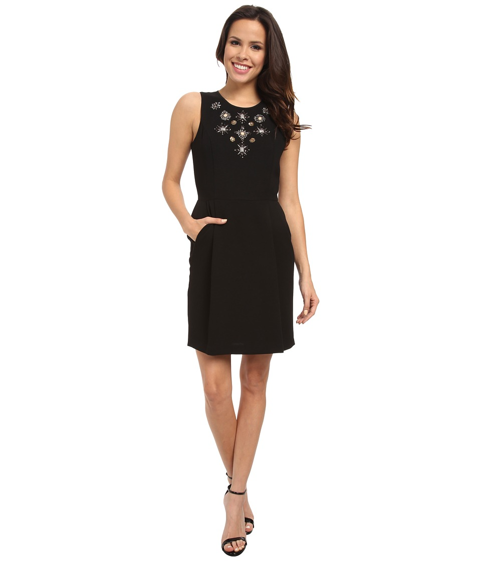 Adrianna Papell - Sleeveless Dress w/ Embellishment (Black) Women's Dress
