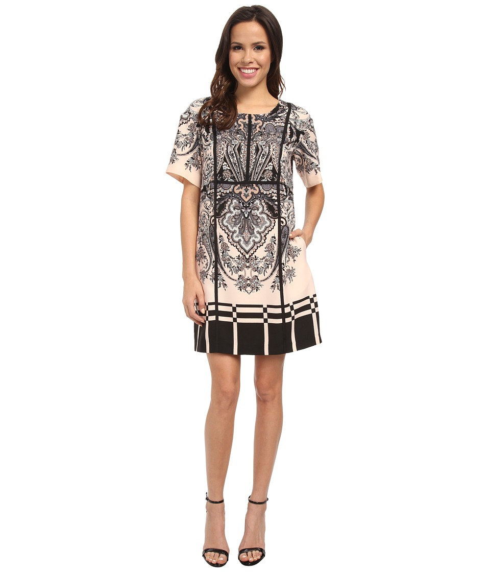Adrianna Papell - Print Heavy Wash 3/4 Sleeve Dress (Blush) Women