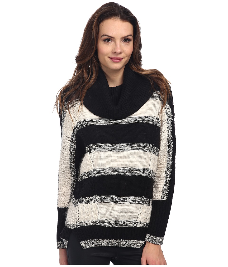 Adrianna Papell - Stripe Cowl Neck Sweater (Black Multi) Women's Sweater