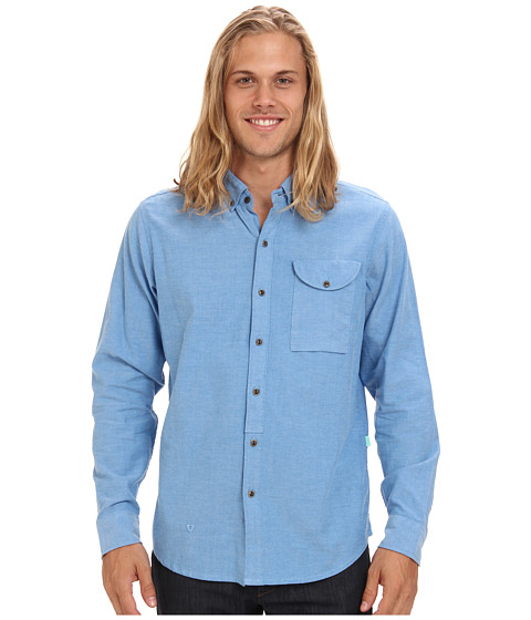 VISSLA - Stohk 7 L/S Woven (Royal Wash) Men's Long Sleeve Button Up