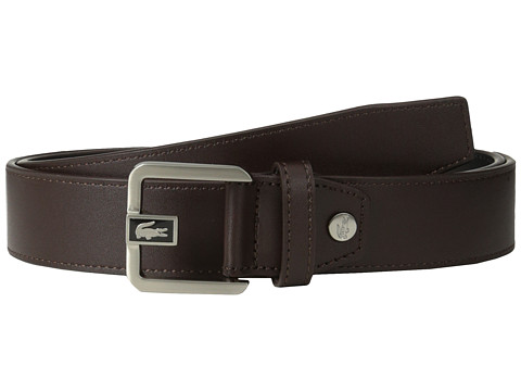 Lacoste - Premium Leather Dress Belt Metal Croc (Caf ) Men's Belts