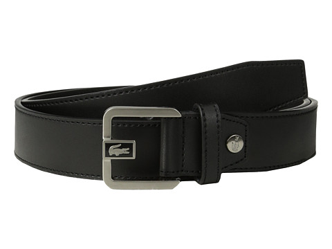 Lacoste - Premium Leather Dress Belt Metal Croc (Black) Men's Belts