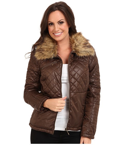 Cruel - Quilted Nylon Detachable Fur (Brown) Women