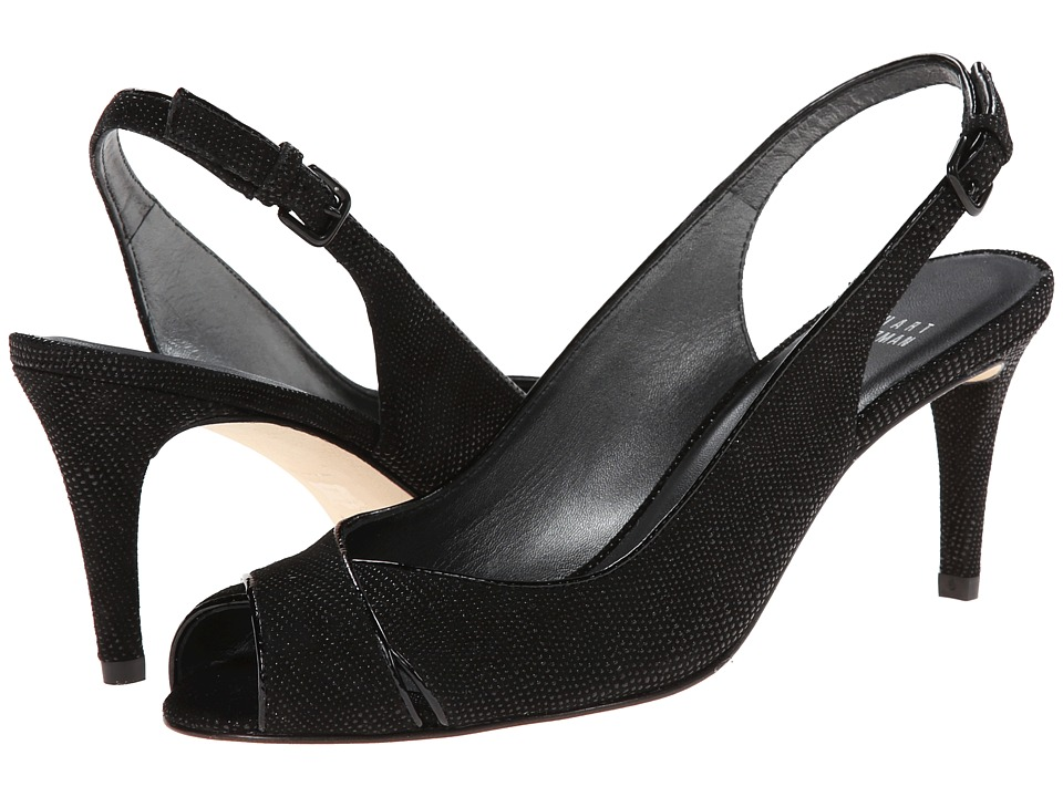 Stuart Weitzman - Crossword (Black Goose Bump Nappa) High Heels