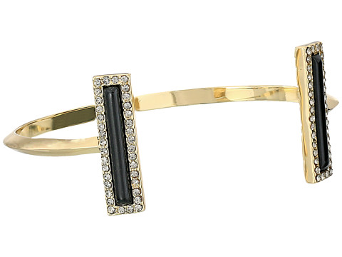 House of Harlow 1960 - Illuminating Rectangle Cuff Bracelet (Gold Tone/Black Resin/Smokey Grey Pave) Bracelet
