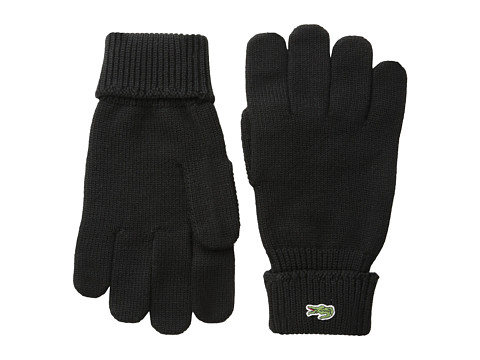 Lacoste - Green Croc Wool Gloves (Black) Wool Gloves