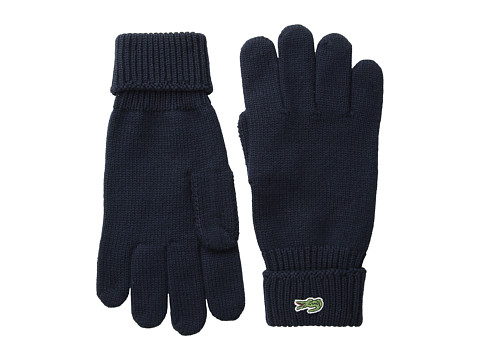 Lacoste - Green Croc Wool Gloves (Navy) Wool Gloves