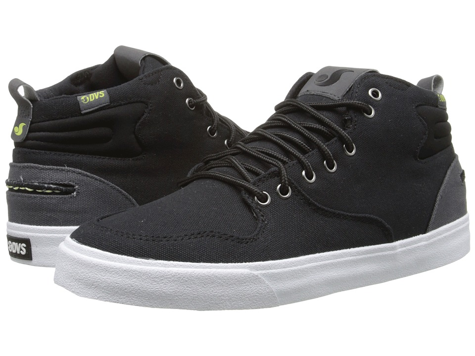 DVS Shoe Company - Elm (Black/Lime Canvas) Men's Skate Shoes