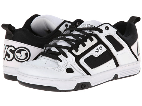 DVS Shoe Company - Comanche (White/Black Leather) Men's Skate Shoes