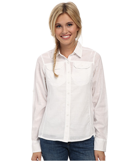 Columbia - Camp Henry Solid L/S Shirt (White) Women's Long Sleeve Button Up