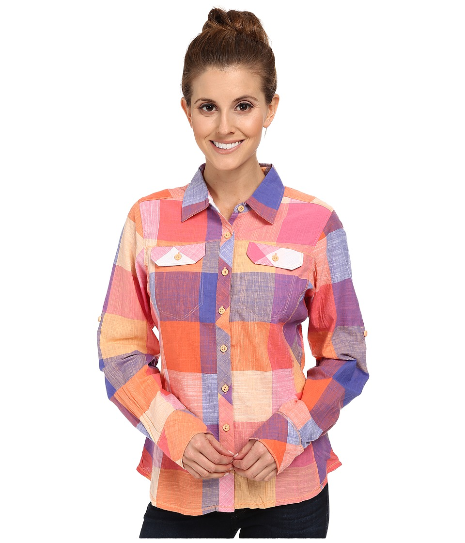 Columbia - Camp Henry L/S Shirt (Tropic Pink Check) Women's Long Sleeve Button Up