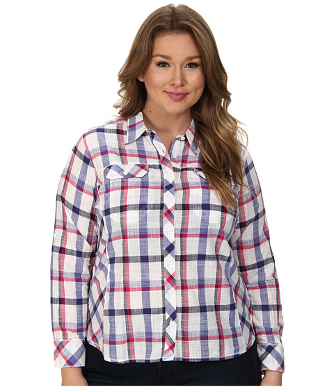 Columbia - Plus Size Camp Henry L/S Shirt (Purple Lotus Plaid) Women's Long Sleeve Button Up
