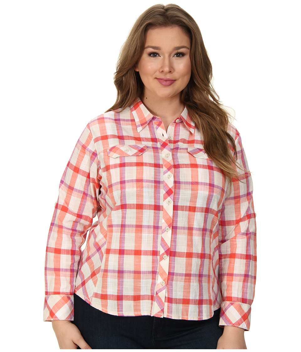 Columbia - Plus Size Camp Henry L/S Shirt (Coral Flame Plaid) Women