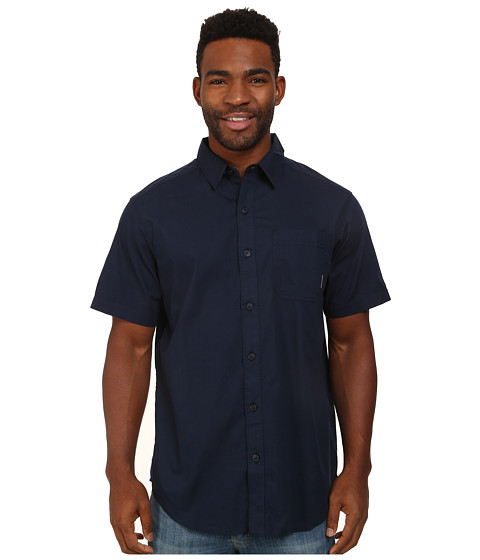 Columbia - Thompson Hill Solid S/S Shirt (Collegiate Navy) Men's Short Sleeve Button Up
