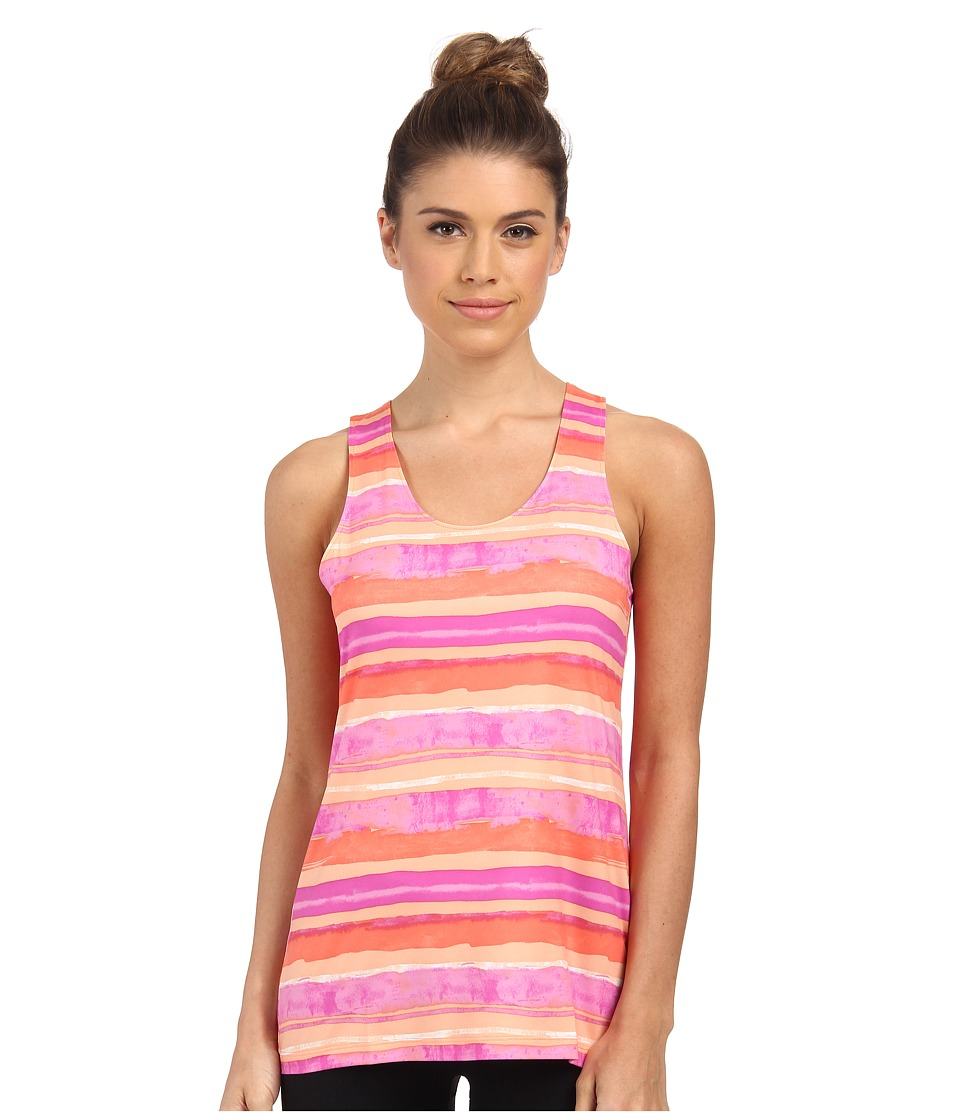 Columbia - Siren Splash Print Tank Top (Coral Flame Watercolor Stripe) Women's Sleeveless