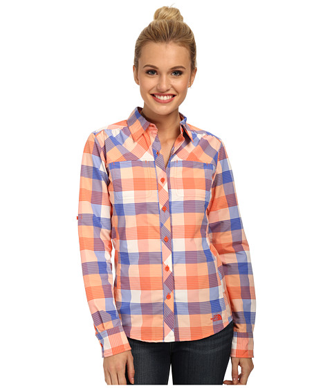 The North Face - Long Sleeve Cool Horizon Woven Shirt (Emberglow Orange/Dazzling Blue) Women's Long Sleeve Button Up
