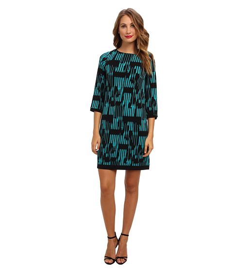 Calvin Klein - Matte Jersey Printed Shift (Evergreen Multi) Women's Dress