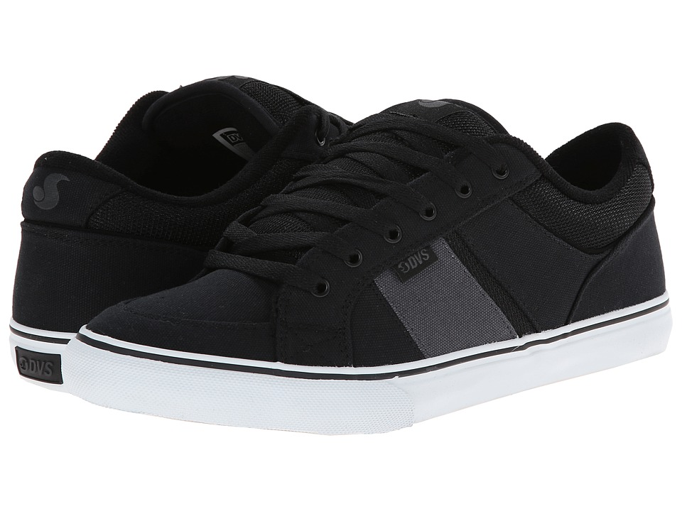DVS Shoe Company - Barton (Black/Grey Canvas) Men's Skate Shoes