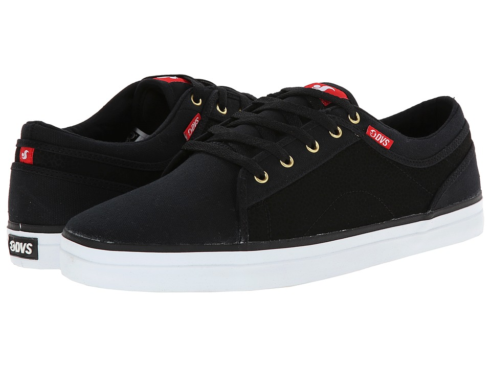 DVS Shoe Company - Aversa (Black/Red Canvas) Men's Skate Shoes