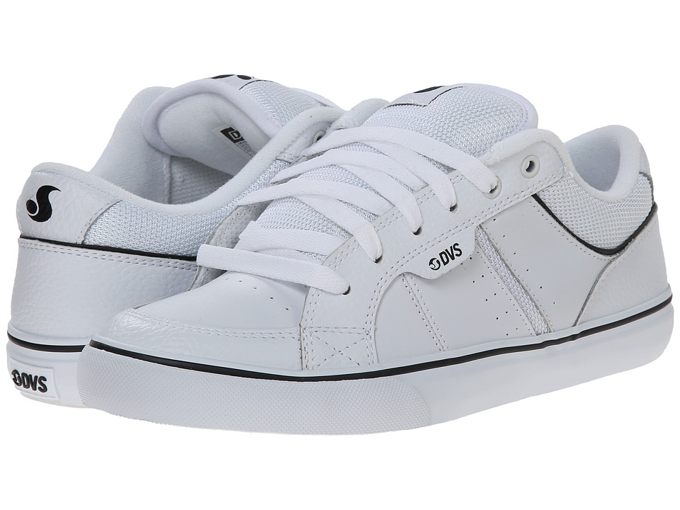 DVS Shoe Company - Barton (White Leather) Men's Skate Shoes