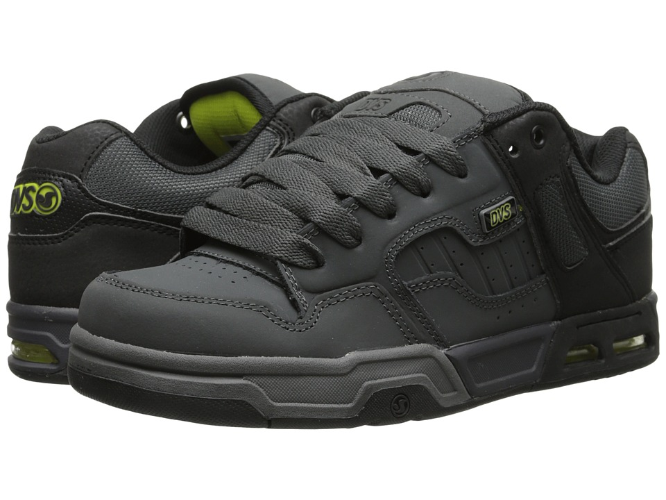 DVS Shoe Company - Enduro Heir (Black/Grey/Lime Nubuck) Men's Skate Shoes