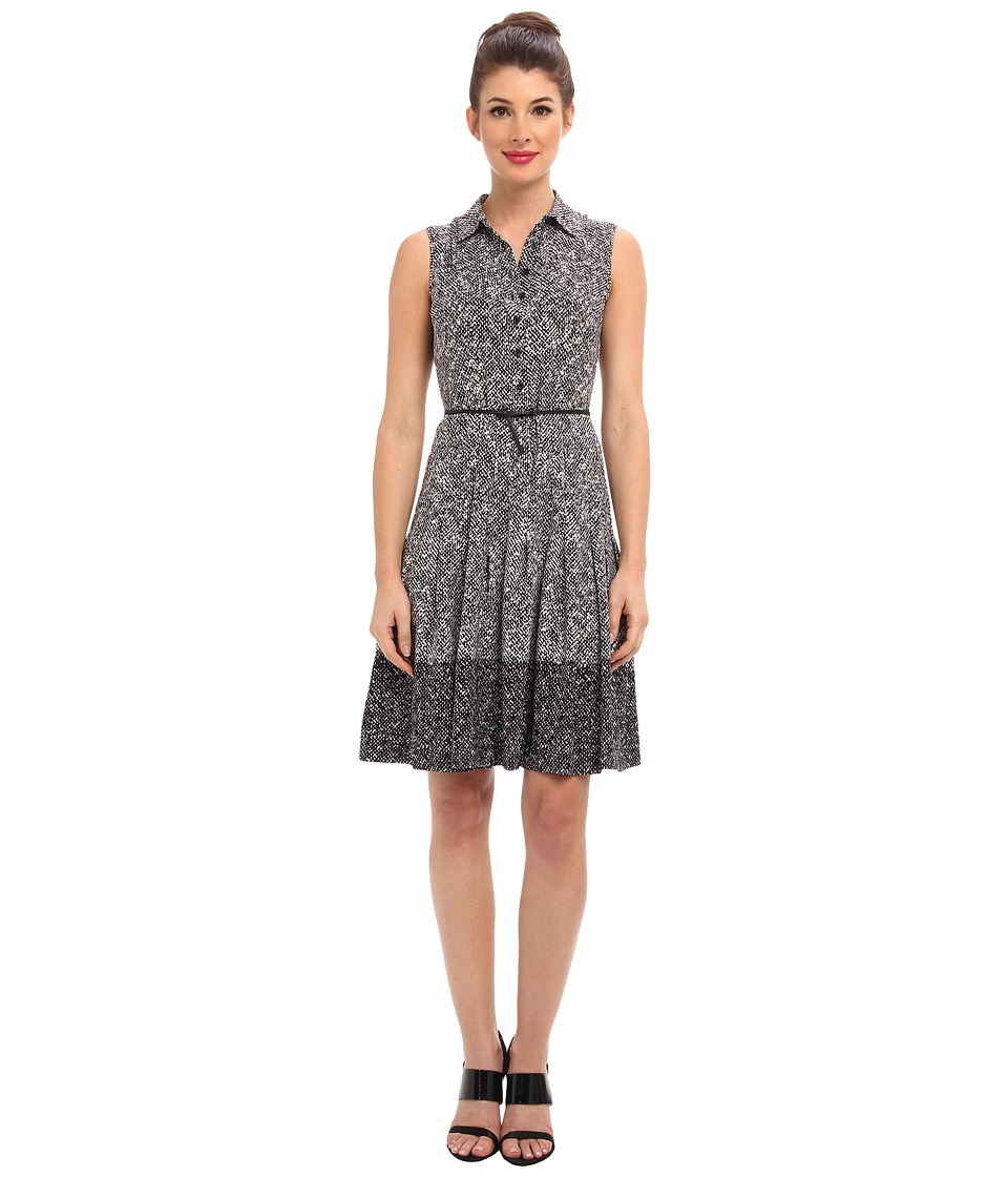 Calvin Klein - Printed Sleeveless Belted Shirtdress CD4H9TYF (Black/Eggshell) Women's Dress