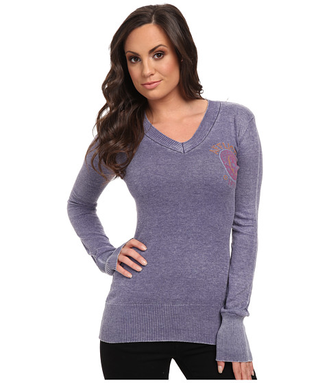 Affliction - Ride To Live L/S V-neck Sweater (Midnight Blue Burnout) Women's Long Sleeve Pullover