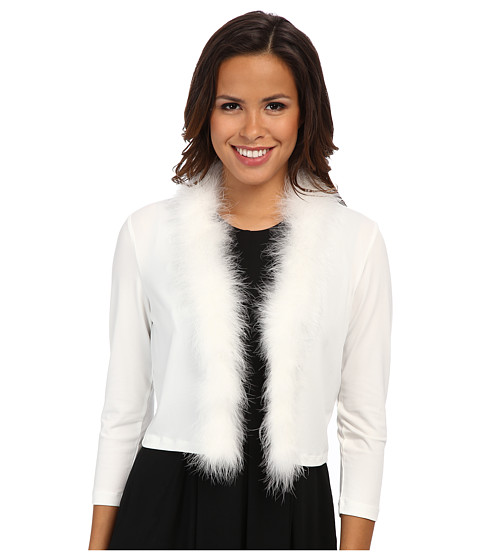 Calvin Klein - Shrug w/ Feather Trim CD4R1GQ4 (Eggshell) Women's Coat