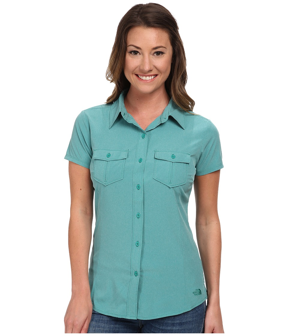 The North Face - Short Sleeve Taggart Woven Shirt (Teal Blue Heather) Women's Short Sleeve Button Up