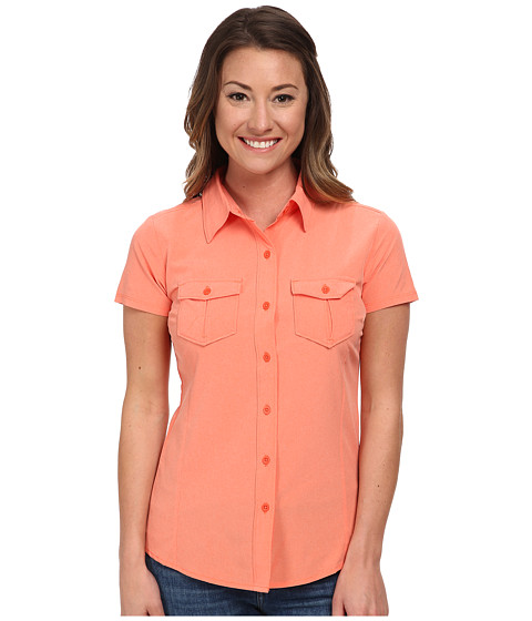 The North Face - Short Sleeve Taggart Woven Shirt (Emberglow Orange Heather) Women's Short Sleeve Button Up