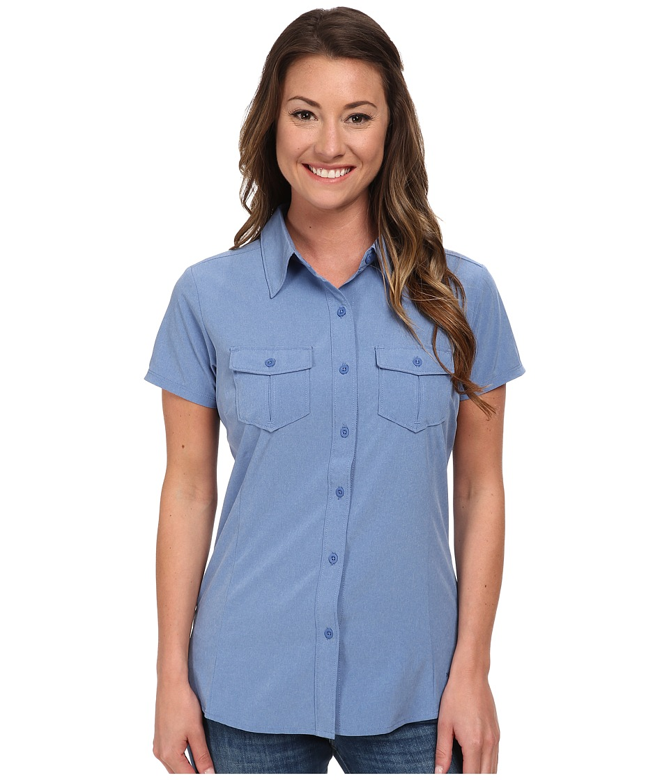 The North Face - Short Sleeve Taggart Woven Shirt (Vintage Blue Heather) Women's Short Sleeve Button Up