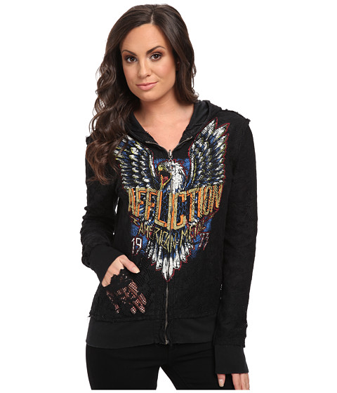 Affliction - Born To Run L/S Reversible Pullover Lace Zip Fleece (Black Lava Wash) Women