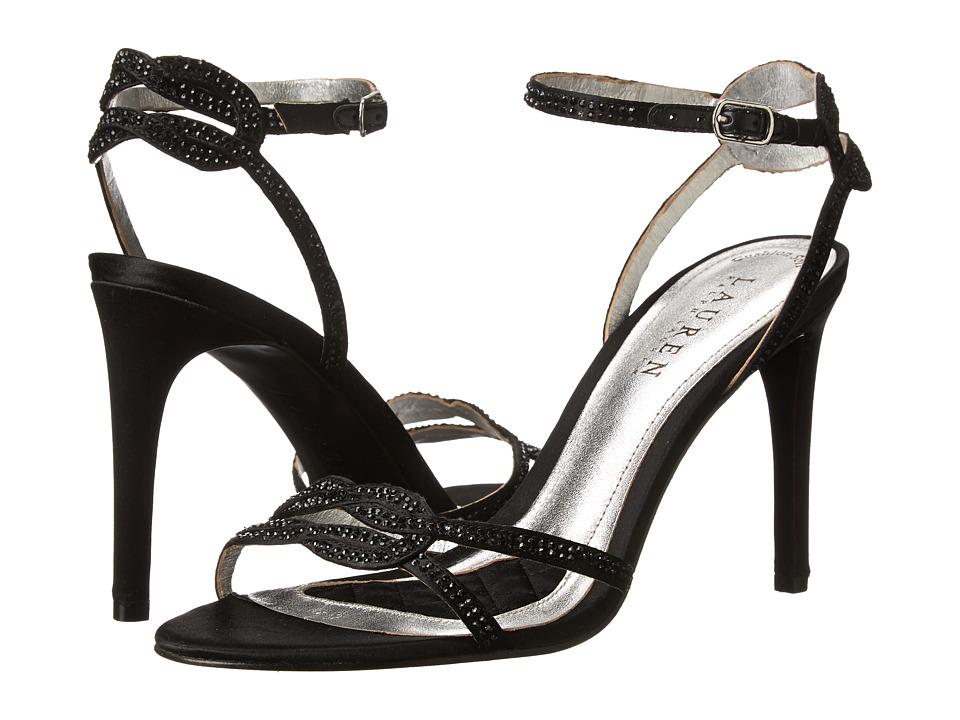 LAUREN Ralph Lauren Stephanie (Black Satin/Stones) High Heels