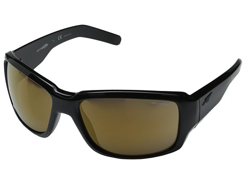 Arnette - Racketeer (Gloss Black/Gold Mirror) Fashion Sunglasses
