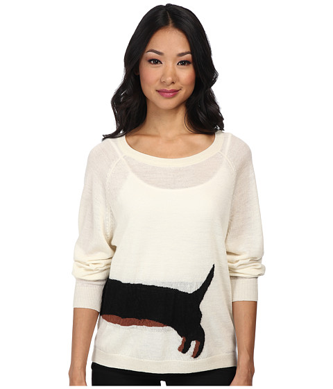 French Connection - Wiener Dog Knits 78CDC (Ivory/Black/Brick) Women