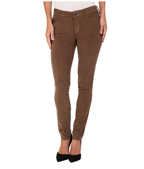 True Religion - Halle Mid-Rise Super Skinny Baby Cord (Mud) Women
