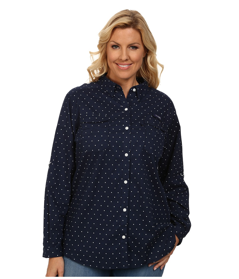 Columbia - Plus Size Super Bonehead II L/S Shirt (Collegiate Navy Printed Polka Dot) Women's Long Sleeve Button Up