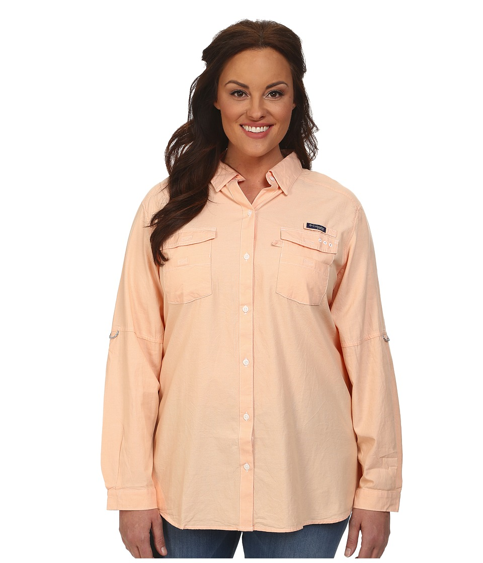 Columbia - Plus Size Super Bonehead II L/S Shirt (Peach Oxford) Women's Long Sleeve Button Up