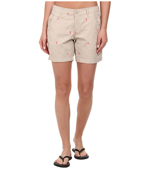 Columbia - Super Bonehead II Short (Fossil/Tropic Pink Flags & Drinks) Women