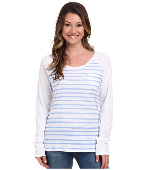 Columbia - Everyday Stripe L/S Tee (White/Harbor Blue) Women