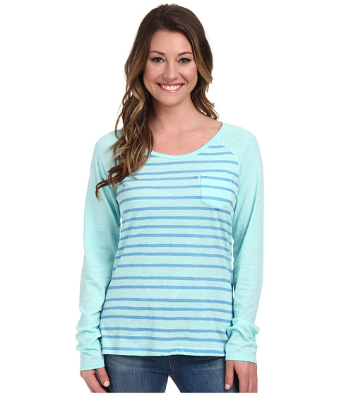 Columbia - Everyday Stripe L/S Tee (Candy Mint/Harbor Blue) Women's Long Sleeve Pullover
