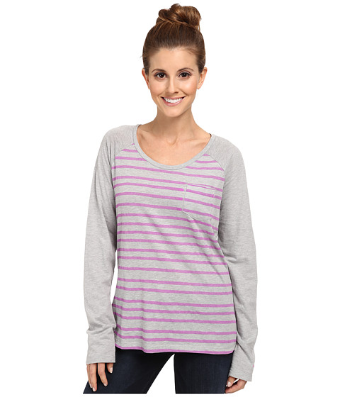 Columbia - Everyday Stripe L/S Tee (Grey Heather/Foxglove) Women